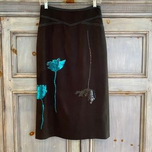 Dries Von Noten embellished black silk skirt sz 38
